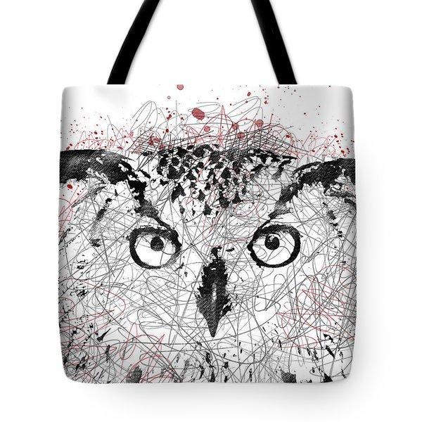 Owl Sketch Pen Portrait Tote Bag