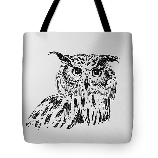 Owl Study 2 Tote Bag by Victoria Lakes