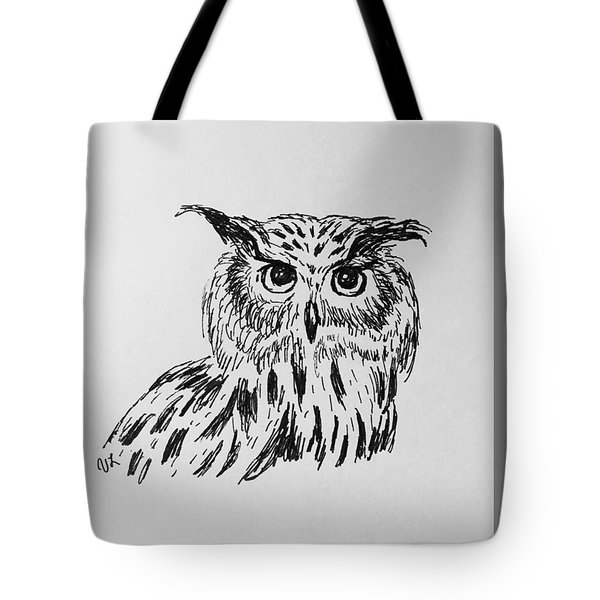 Tote Bag featuring the drawing Owl Study 2 by Victoria Lakes