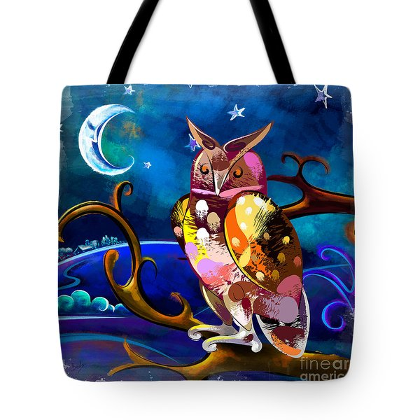 Owl Watching The Moon Tote Bag