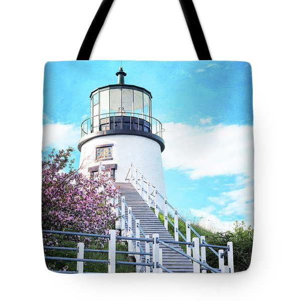 Owl's Head Light In Early June Tote Bag