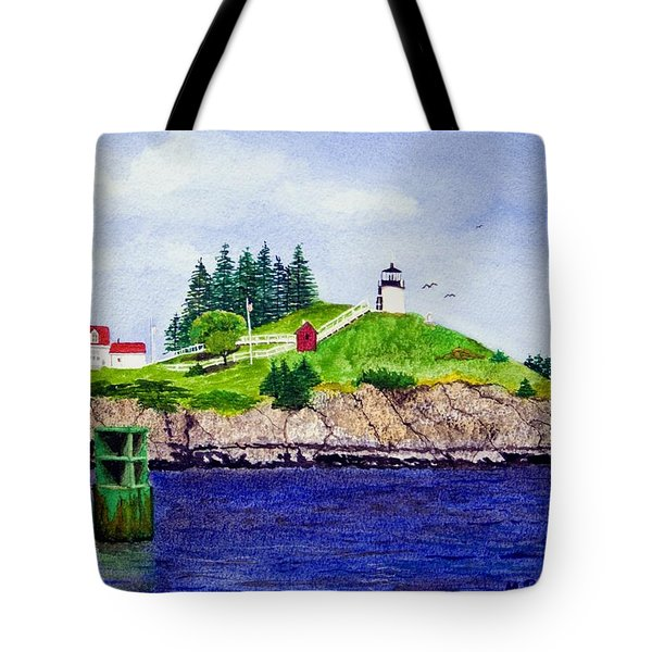 Owls Head Lighthouse Tote Bag by Mike Robles