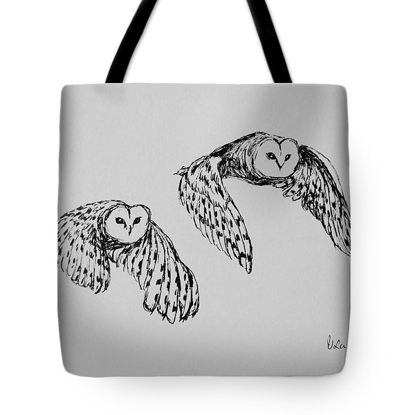 Owls In Flight Tote Bag