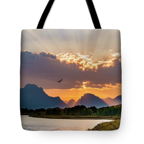 Oxbow At Sunset Tote Bag by Mary Hone