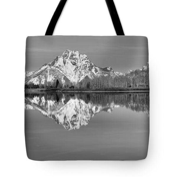 Oxbow Bend Panorama Black And White Tote Bag by Adam Jewell