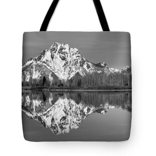 Oxbow Snake River Reflections Black And White Tote Bag by Adam Jewell