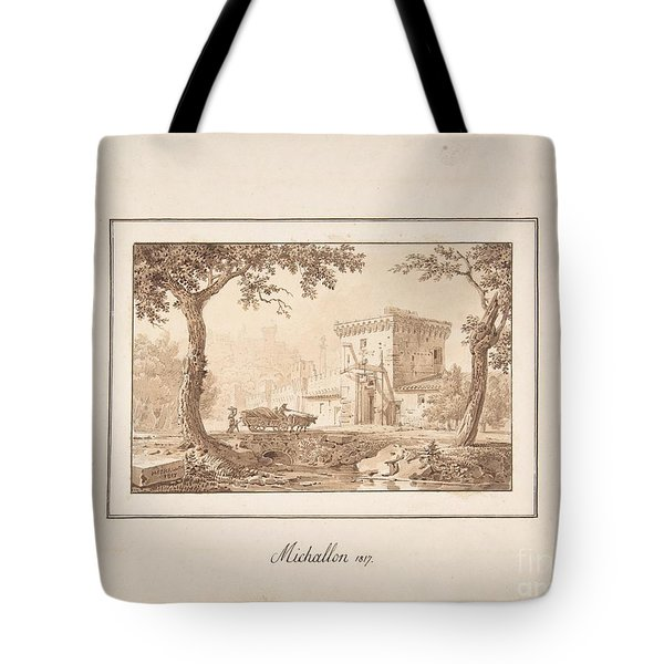 Oxcart Approaching A Fortified Building Tote Bag