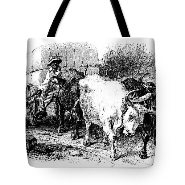 Tote Bag featuring the drawing Oxen And Cart, 19th Century by Granger