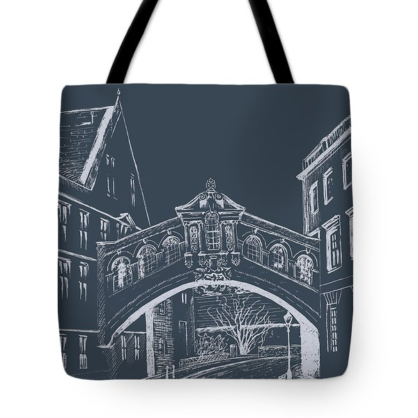Tote Bag featuring the digital art Oxford At Night by Elizabeth Lock