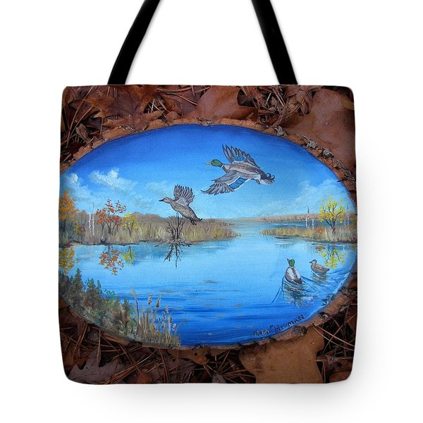 Tote Bag featuring the painting Oyster Creek Flock by Kevin F Heuman