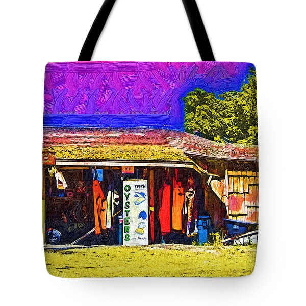 Tote Bag featuring the digital art Oyster Hut by Kirt Tisdale