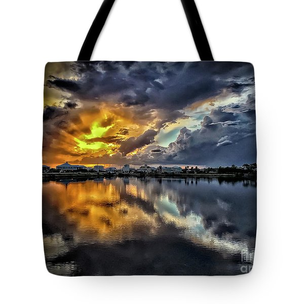 Oyster Lake Sunset Tote Bag