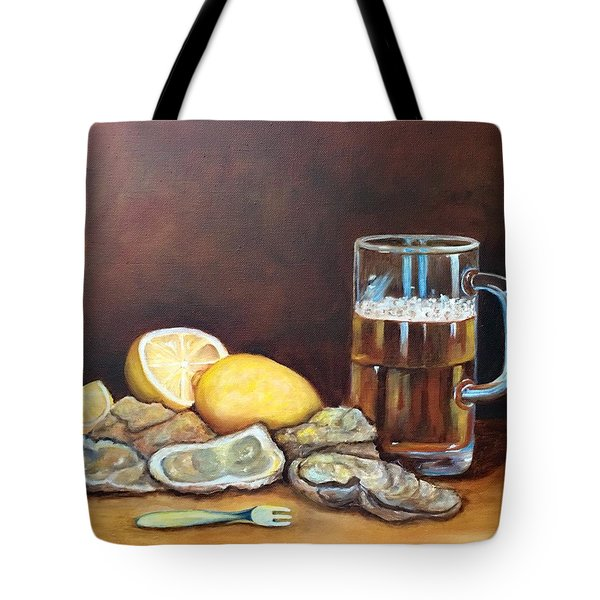 Oysters And Beer Tote Bag by Susan Dehlinger