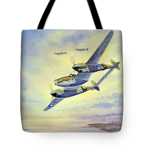 P-38 Lightning Aircraft Tote Bag by Bill Holkham