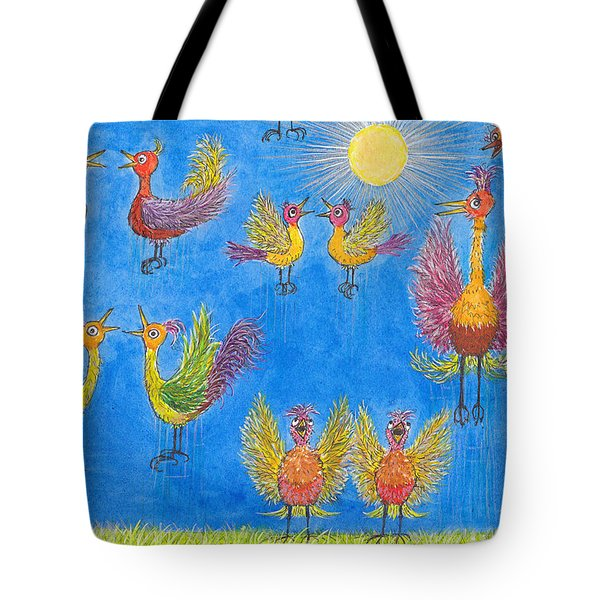 p11 Crazy Bouncing Birds Tote Bag by Charles Cater