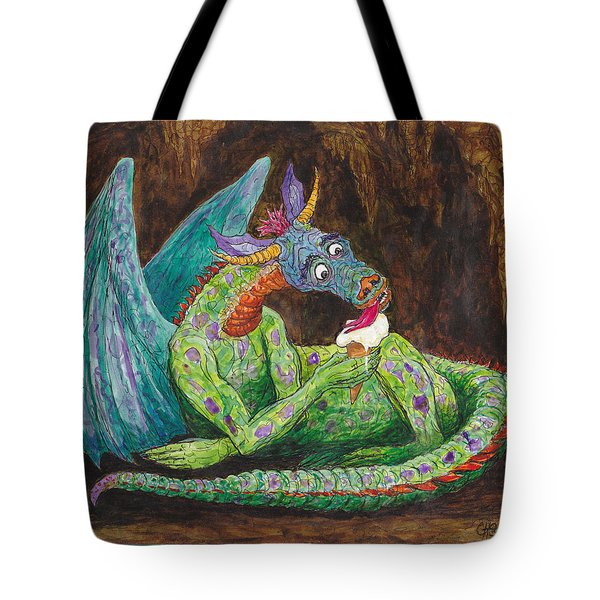 Dragons Love Ice Cream Tote Bag by Charles Cater