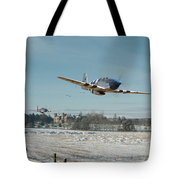 Tote Bag featuring the digital art P51 Mustang - Bodney Blue Noses by Pat Speirs
