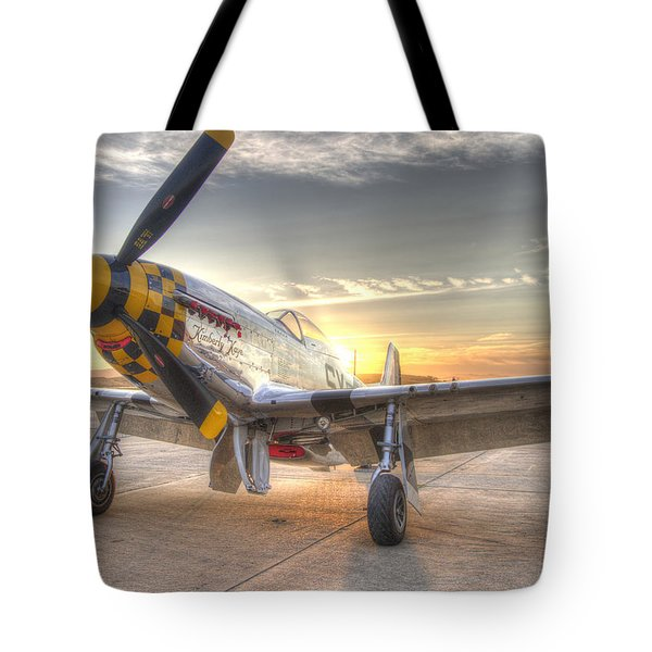 Tote Bag featuring the photograph P51 Mustang Kimberly Kaye At Hollister  by John King