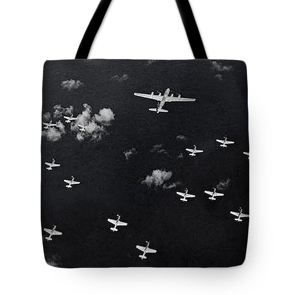 P51 Mustangs Escort B29 Superfortress To Tokyo Tote Bag