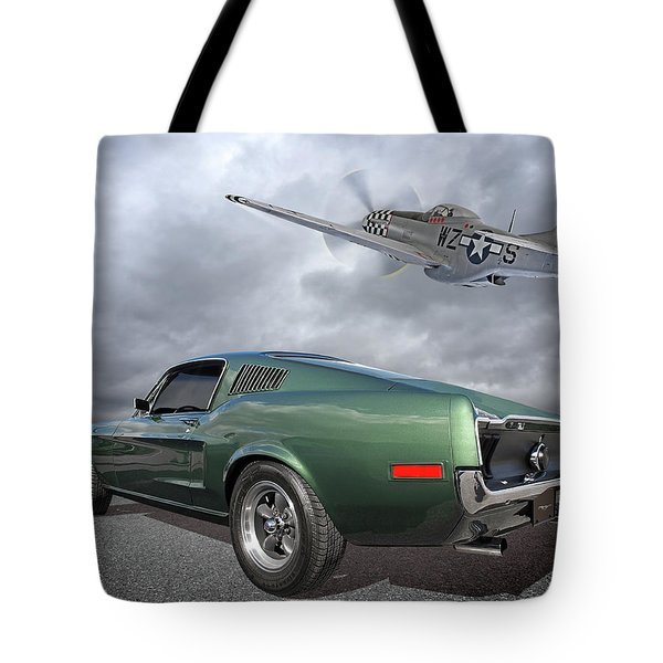 P51 With Bullitt Mustang Tote Bag
