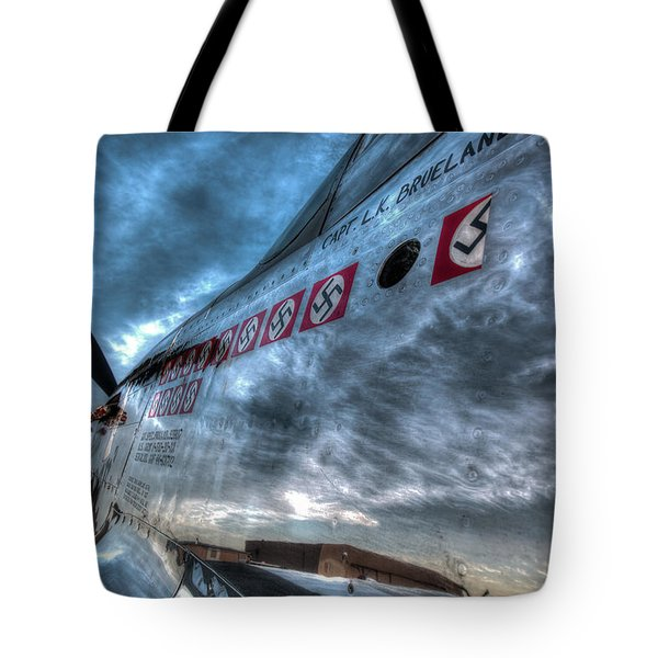 Tote Bag featuring the photograph P51d Mustang Shows Off Its Nazi Kills by John King