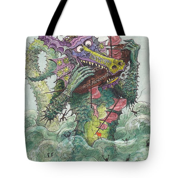 P7 Fish And Ships Tote Bag by Charles Cater