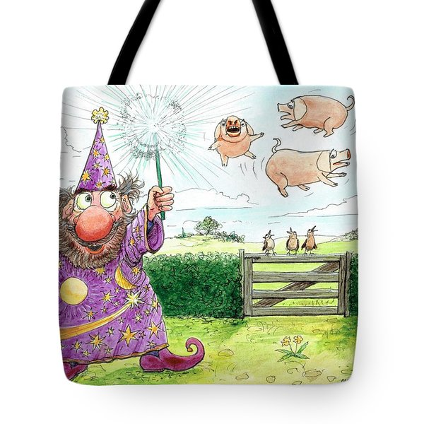 Pigs Might Fly    P8 Tote Bag by Charles Cater