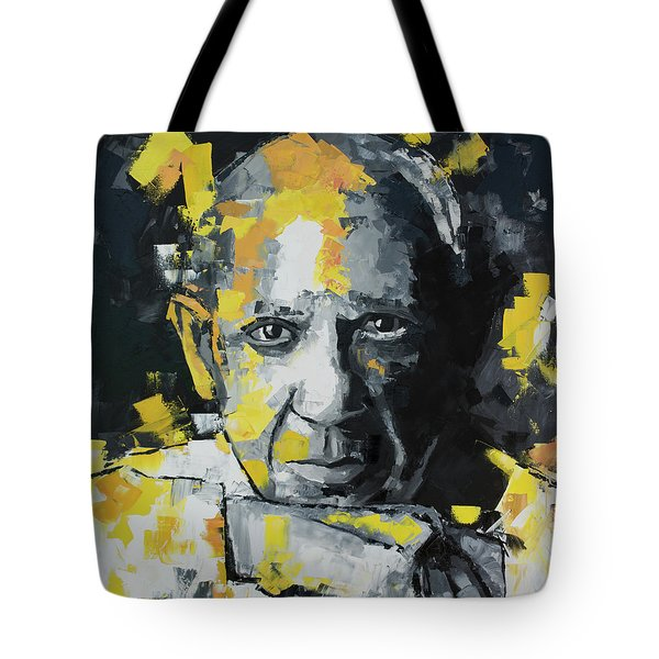 Tote Bag featuring the painting Pablo Picasso Portrait by Richard Day