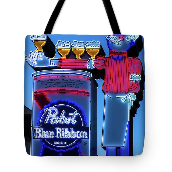 Pabst Blue Ribbon Neon Sign Fremont Street Tote Bag by Aloha Art