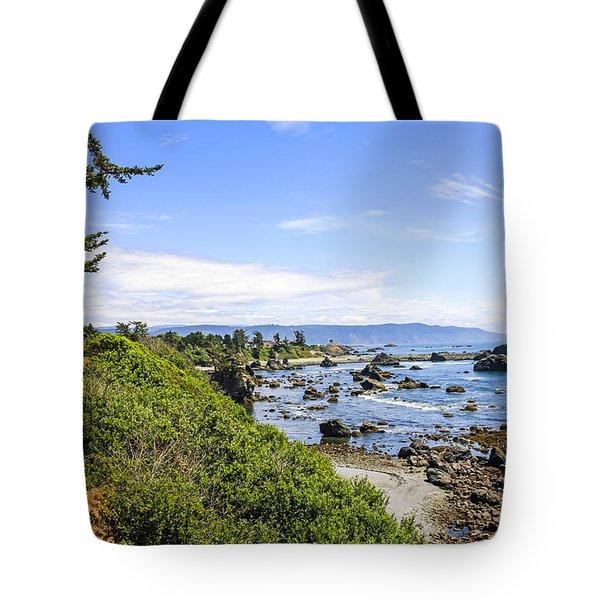 Pacific Coastline In California Tote Bag by Chris Smith