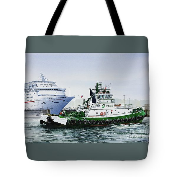 Tote Bag featuring the painting Pacific Escort Cruise Ship Assist by James Williamson