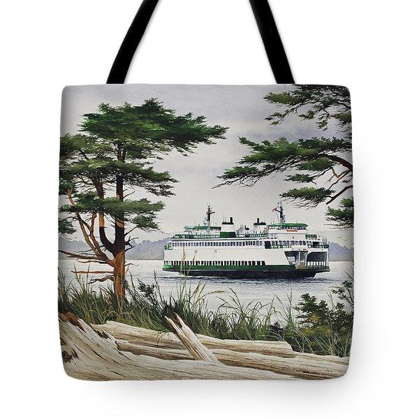 Island Shore - Washington State Ferry Tote Bag