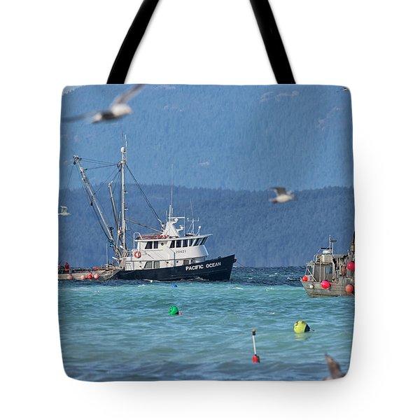 Pacific Ocean Herring Tote Bag by Randy Hall