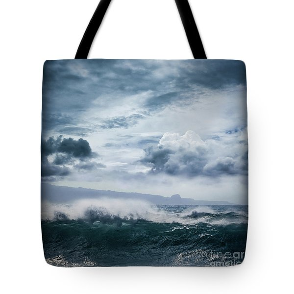 Tote Bag featuring the photograph He Inoa Wehi No Hookipa  Pacific Ocean Stormy Sea by Sharon Mau