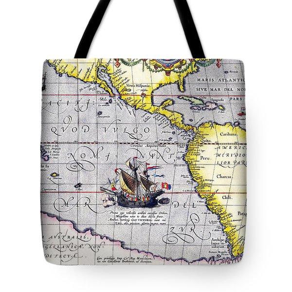 Pacific Ocean Vintage Map Tote Bag
