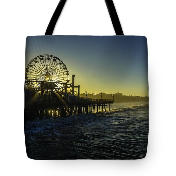 Tote Bag featuring the photograph Pacific Park Ferris Wheel by Brad Wenskoski