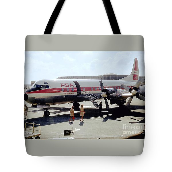 Pacific Southwest Airlines Lockheed L-188c, N376ps Tote Bag