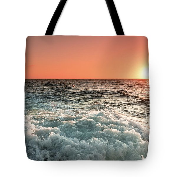 Pacific Sunset With Boat Wash Tote Bag by Jeremy Farnsworth