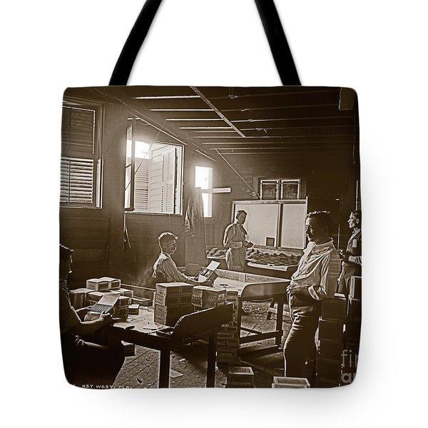 Packing Cigars Key West Florida Tote Bag by John Stephens