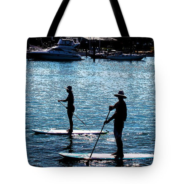 Paddle Boarding In The Marina Tote Bag by Susan Vineyard