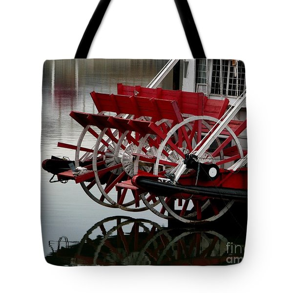 Paddle Boat On The Ohio Tote Bag by Misha Bean
