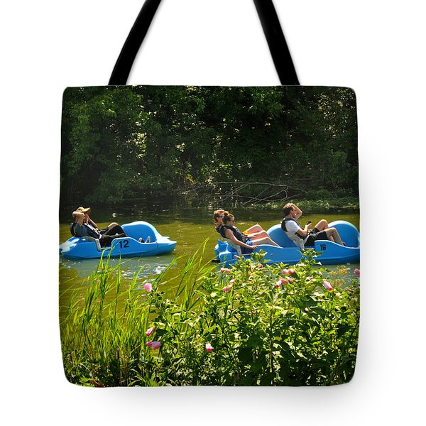 Tote Bag featuring the photograph Paddle Boats In Prospect Park Brooklyn by Diane Lent