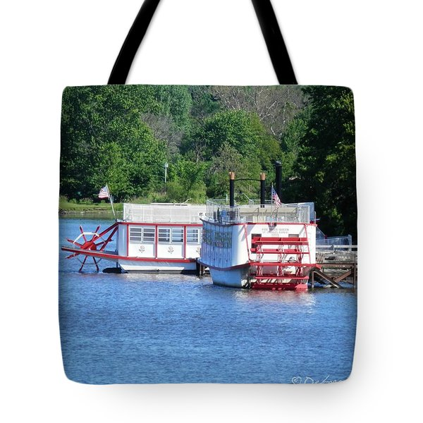 Paddleboat On The River Tote Bag