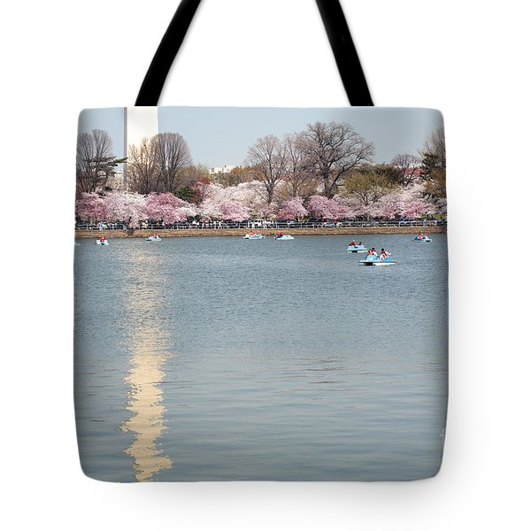 Paddleboating At Cherry Blossom Time In Washington Dc Tote Bag
