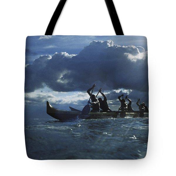 Paddlers At Sunset Tote Bag by Bob Abraham - Printscapes