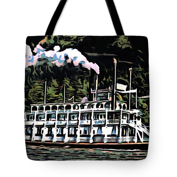 Tote Bag featuring the photograph Paddlewheel Steamer On The Mississippi by Mario Carini