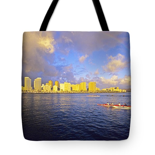 Paddling Beneath Rainbow Tote Bag by Carl Shaneff - Printscapes