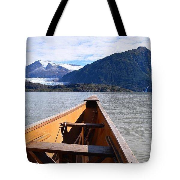 Paddling On Mendenhall Lake Tote Bag