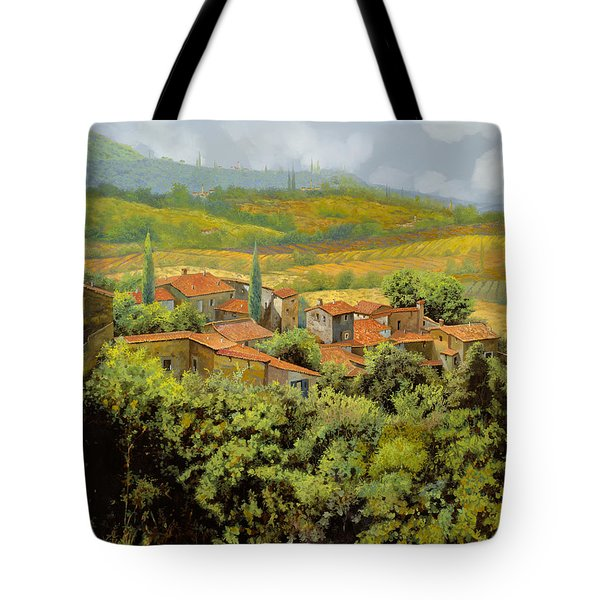 Tote Bag featuring the painting Paesaggio Toscano by Guido Borelli