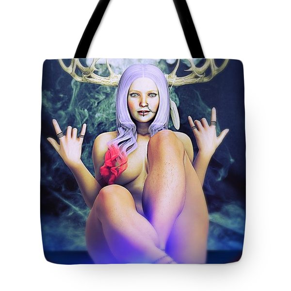 Tote Bag featuring the painting Pagan Paradise by Baroquen Krafts